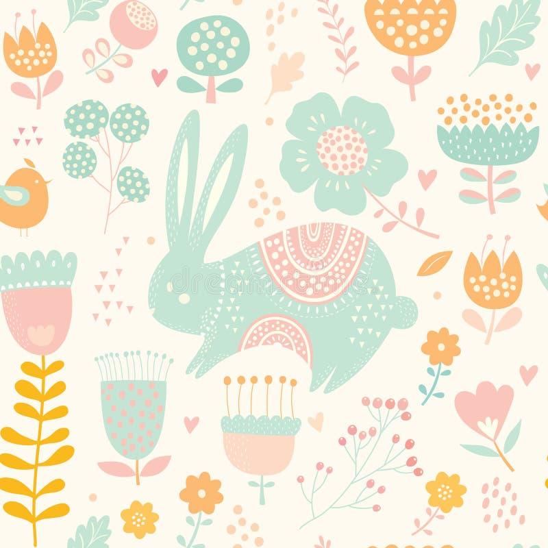 Naadloos patroon met konijn Illustratie met leuk konijntje en mooie bloemen royalty-vrije illustratie