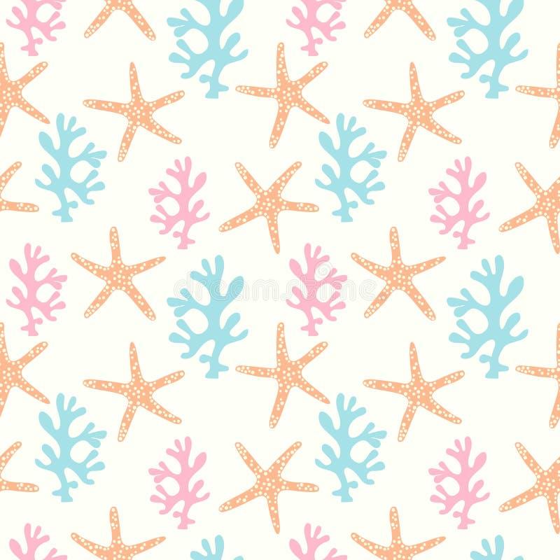 Naadloos patroon met koraalrif en zeester royalty-vrije illustratie