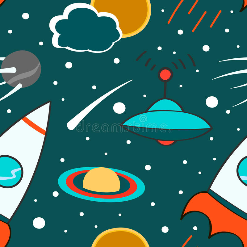 Naadloos patroon met kosmische ruimte, raket, komeet, planeten, ufo en sterren Kinderachtige achtergrond Hand getrokken illustrat vector illustratie