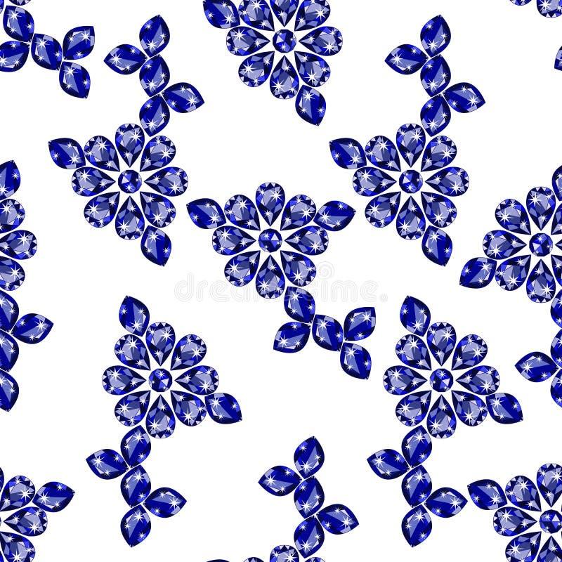 Naadloos patroon met kostbare gemsaffier vector illustratie
