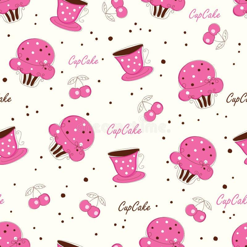 Naadloos patroon met krabbel cupcakes vector illustratie