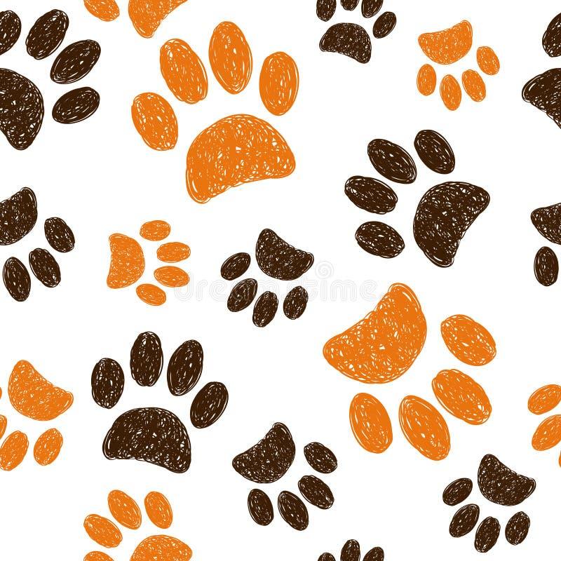 Naadloos patroon met krabbel dierlijke voetafdrukken vector illustratie