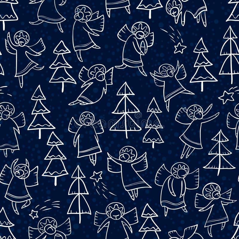 Naadloos patroon met krabbel het dansen engelen en pijnboombomen r vector illustratie