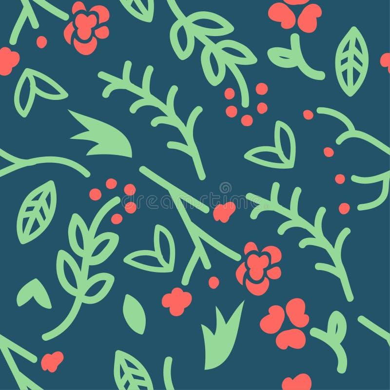 Naadloos patroon met krabbel van bloemen op groene achtergrond, vector, het trekken stock illustratie