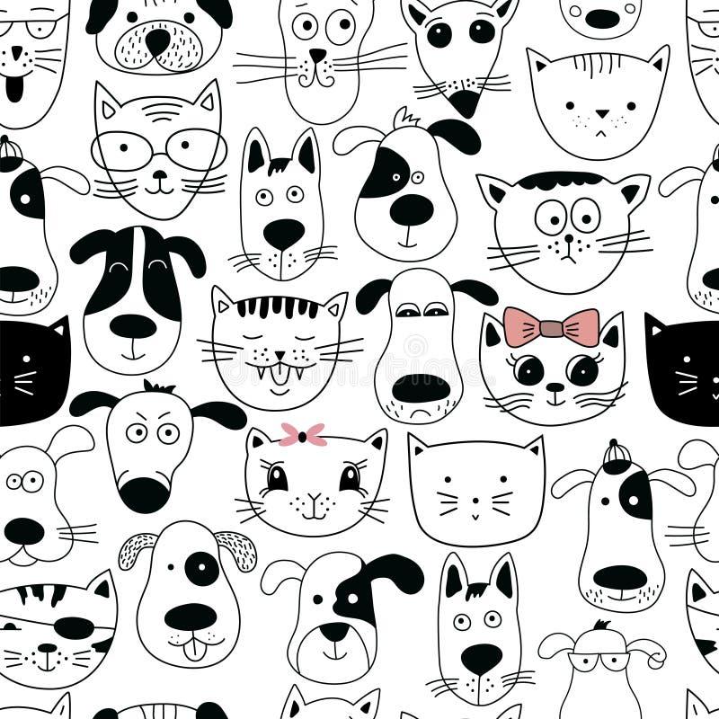 Naadloos patroon met krabbelkatten en honden stock illustratie