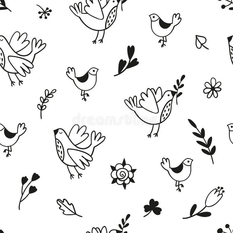 Naadloos patroon met krabbelvogels, takken en bloemen Zwart-wit vector geschikt malplaatje vector illustratie