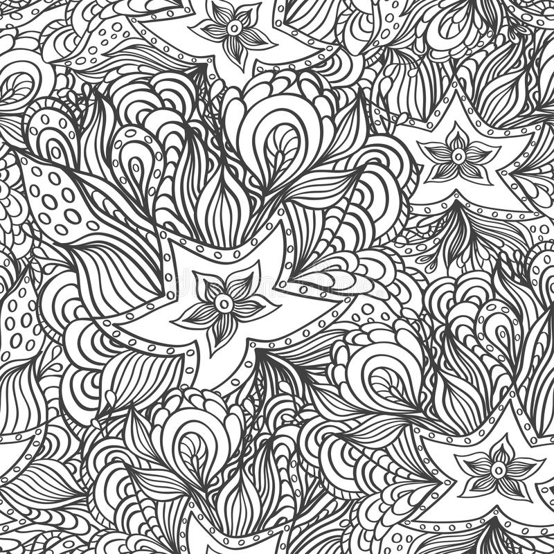 Naadloos patroon met krabbelzeesterren en zeewieren in zwart wit voor het kleuren van pagina vector illustratie