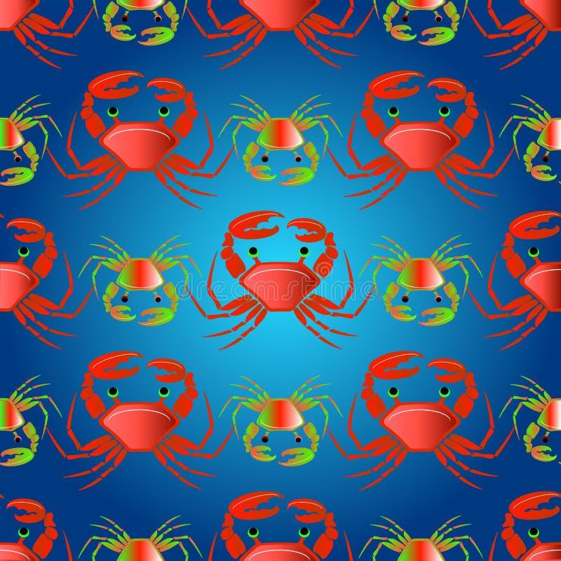 Naadloos patroon met krabben op de kleurengolven royalty-vrije illustratie