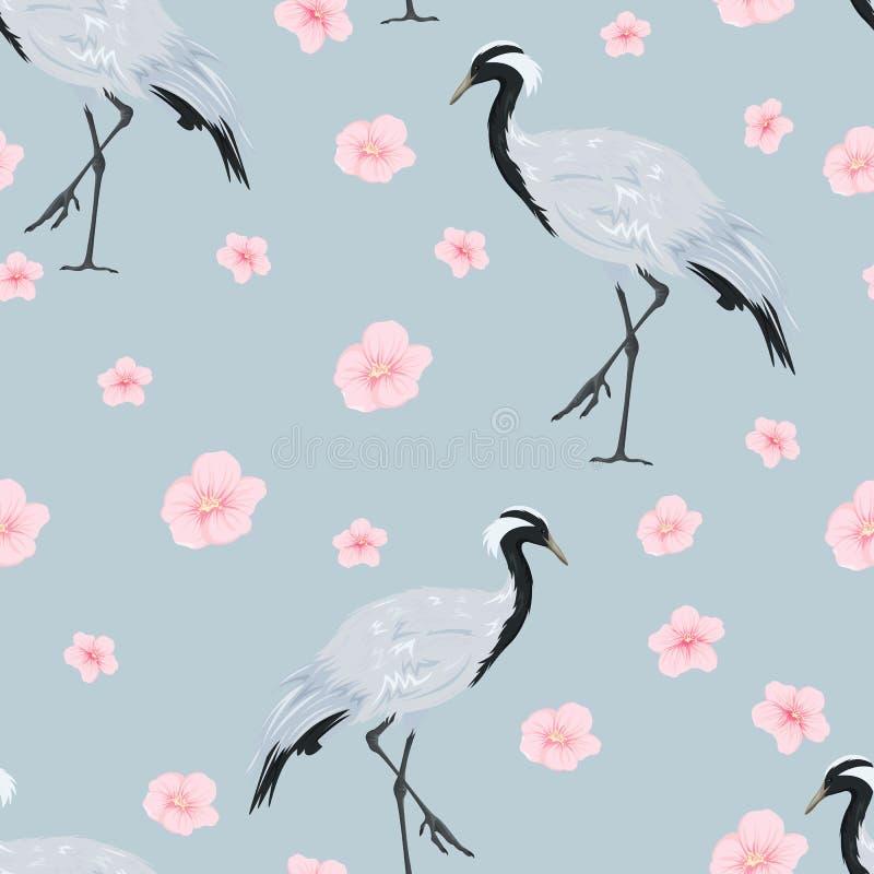 naadloos patroon met kranen en sakurabloemen stock illustratie