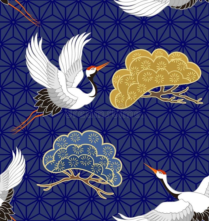 Naadloos patroon met kranen Japans patroon Vector royalty-vrije illustratie