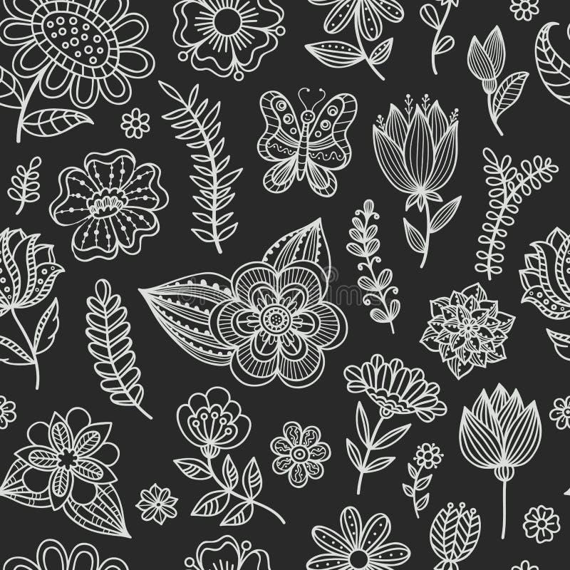Naadloos patroon met krijtbloemen stock illustratie