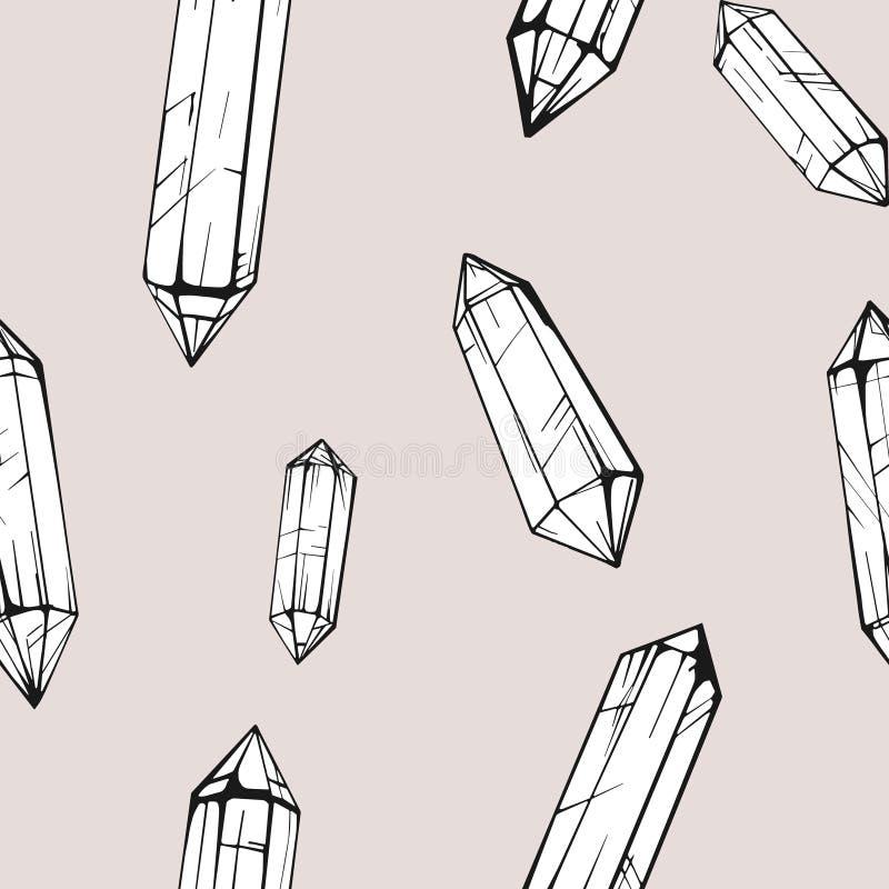 Naadloos patroon met kristalgem vector illustratie