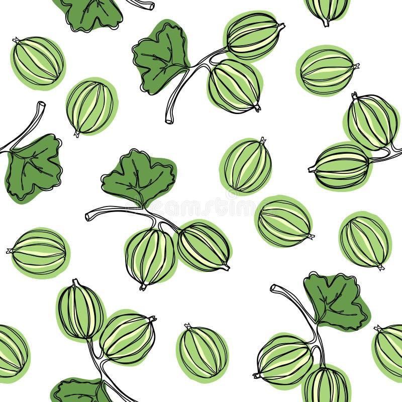 Naadloos patroon met kruisbes Fruitillustratie De Indische boom van kruisbesmalacca Eetbaar fruit Goed voor achtergrond, textiel, stock illustratie