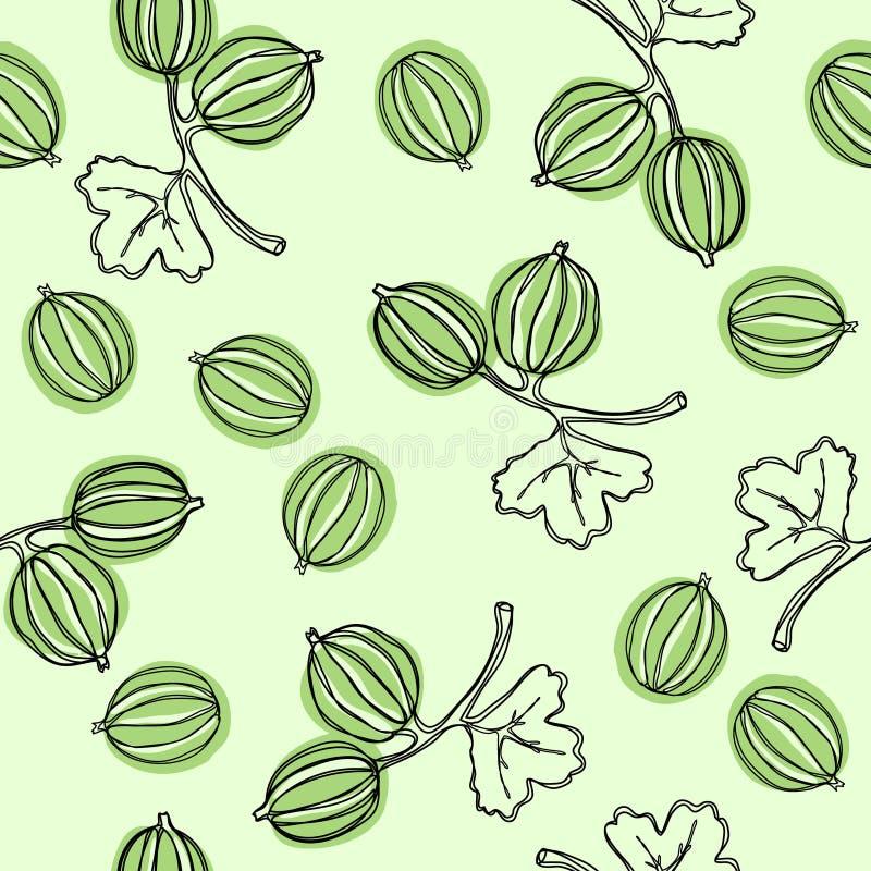 Naadloos patroon met kruisbes Fruitillustratie De Indische boom van kruisbesmalacca, of kruisbes Eetbaar fruit Goed voor backdr royalty-vrije illustratie