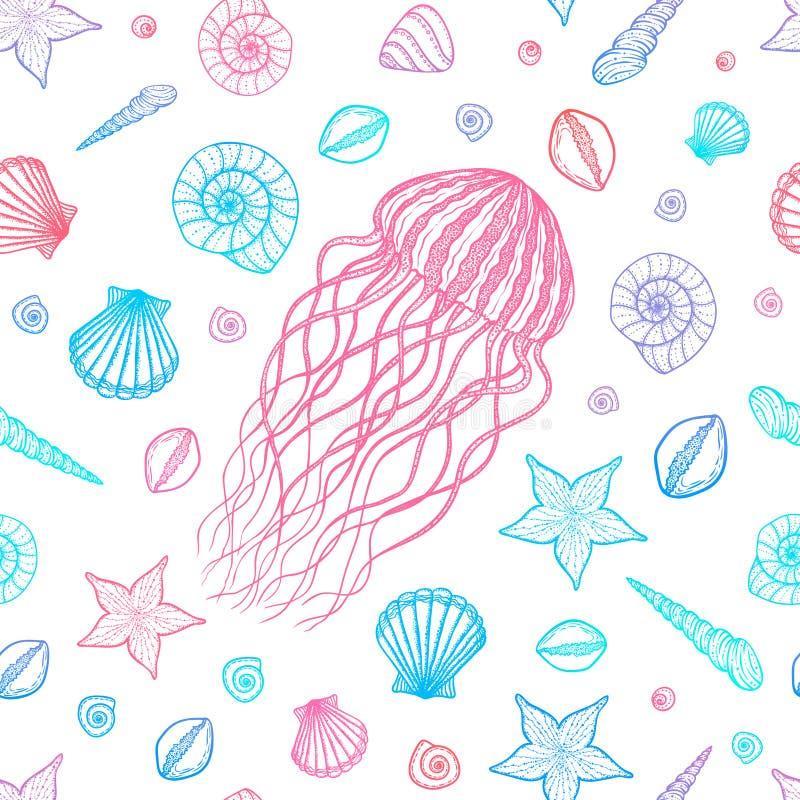 Naadloos patroon met kwallen en shells in de stijl van de lijnkunst Hand getrokken vector stock illustratie