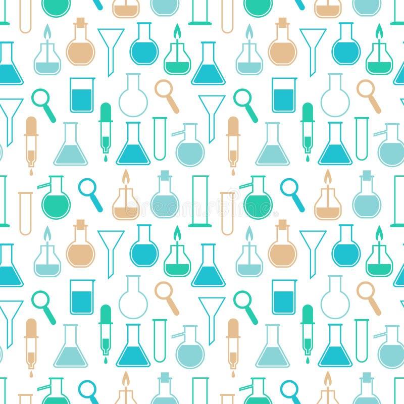 Naadloos patroon met laboratoriummateriaal vector illustratie