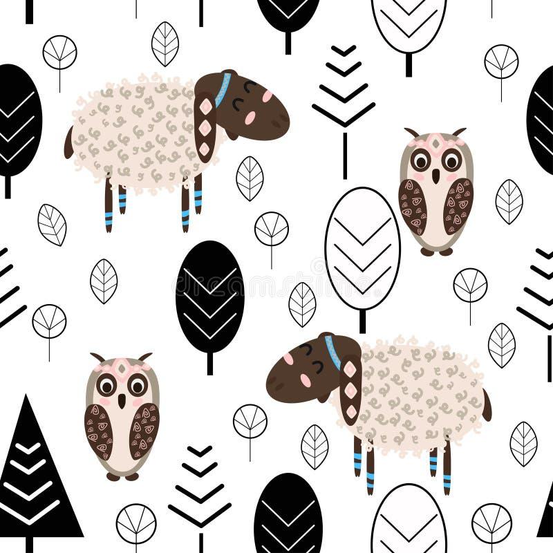 Naadloos patroon met lam en uil in bos Skandinavische stijl - vectorillustratie, eps royalty-vrije illustratie