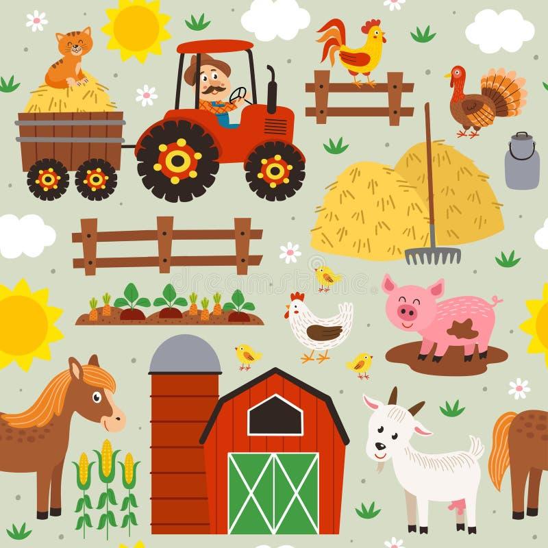 Naadloos patroon met landbouwer die een tractor en landbouwbedrijfdieren berijden royalty-vrije illustratie