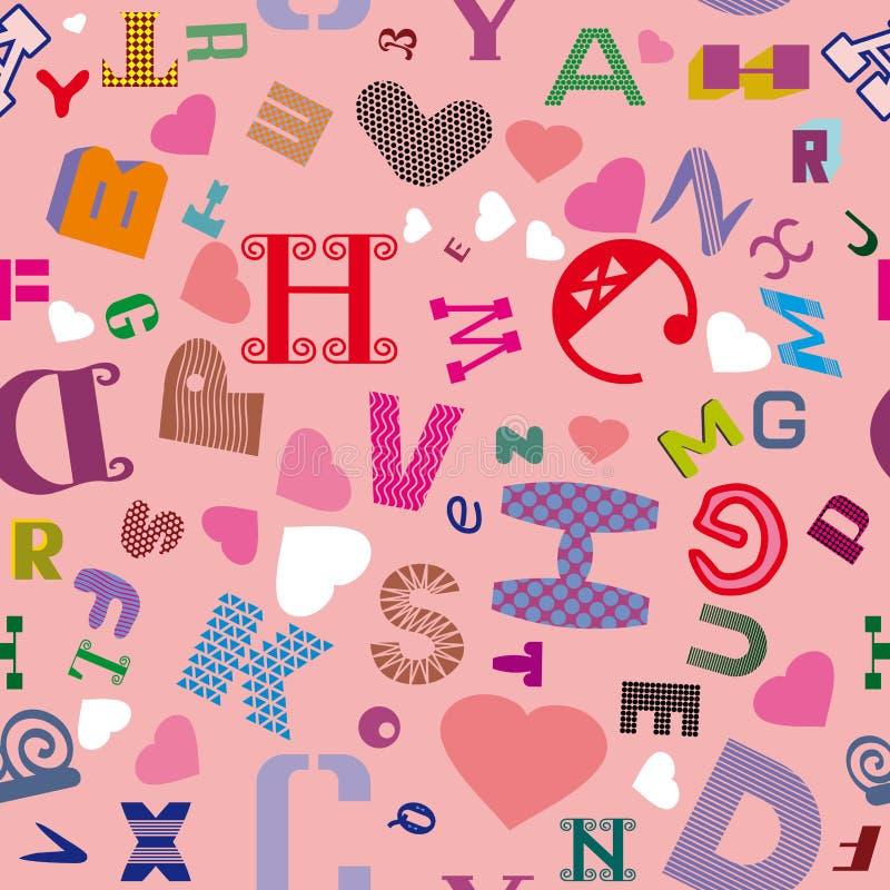 Naadloos patroon met Latijnse brieven en harten op een roze achtergrond royalty-vrije illustratie