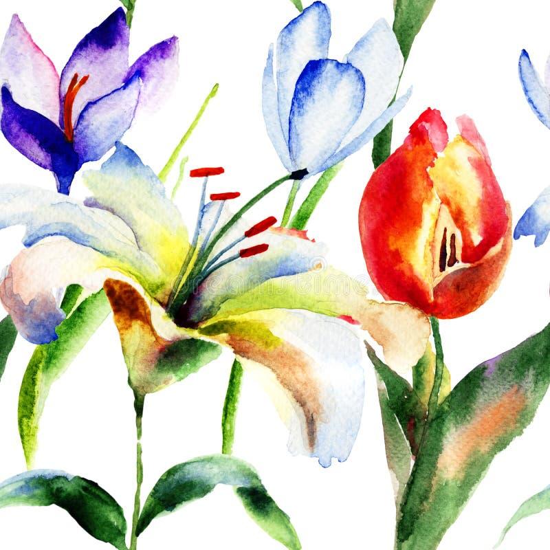 Naadloos patroon met Lelie en Tulpenbloemen vector illustratie