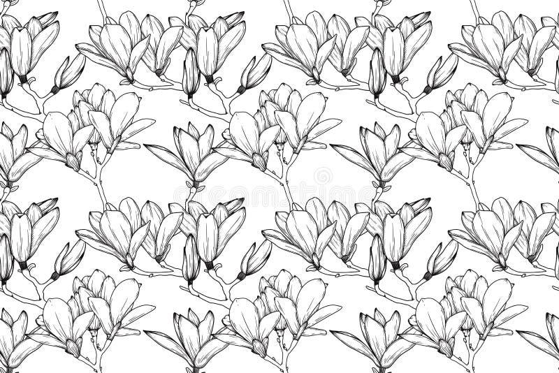 Naadloos patroon met Leliebloemen Realistische schetslelie Vector stock fotografie
