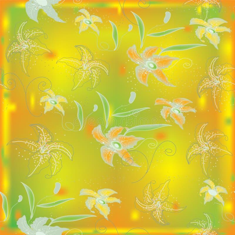 Naadloos patroon met lelies stock illustratie