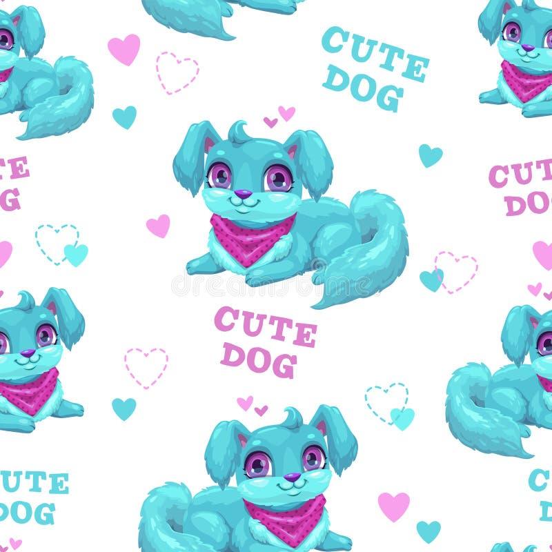 Naadloos patroon met leuk beeldverhaal pluizig puppy royalty-vrije illustratie