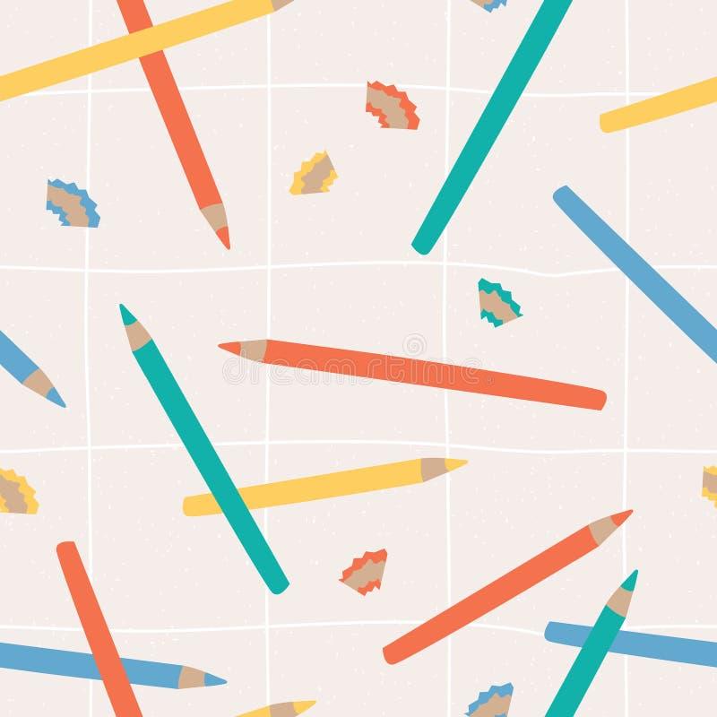 Naadloos patroon met leuk hand getrokken potlood in pastelkleuren royalty-vrije illustratie