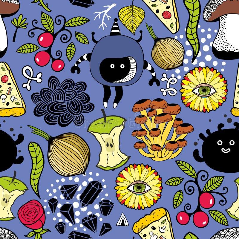 Naadloos patroon met leuk monsters en voedsel vector illustratie