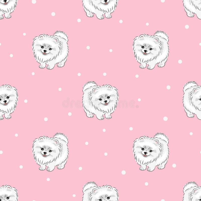 Naadloos patroon met leuk wit pomeranian puppy op roze stock illustratie