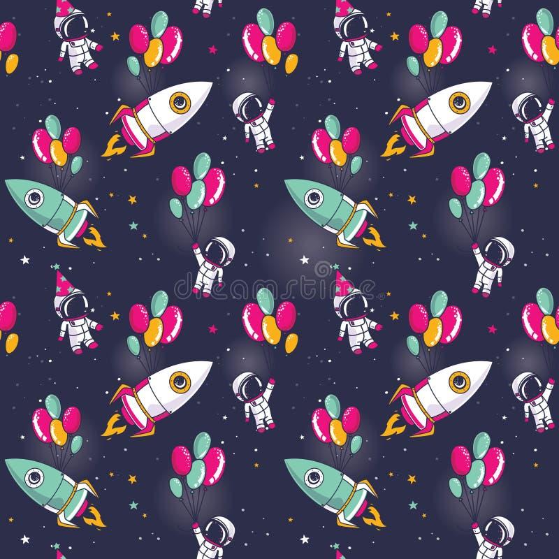 Naadloos patroon met leuke astronauten en raketten op ballons in ruimte royalty-vrije illustratie