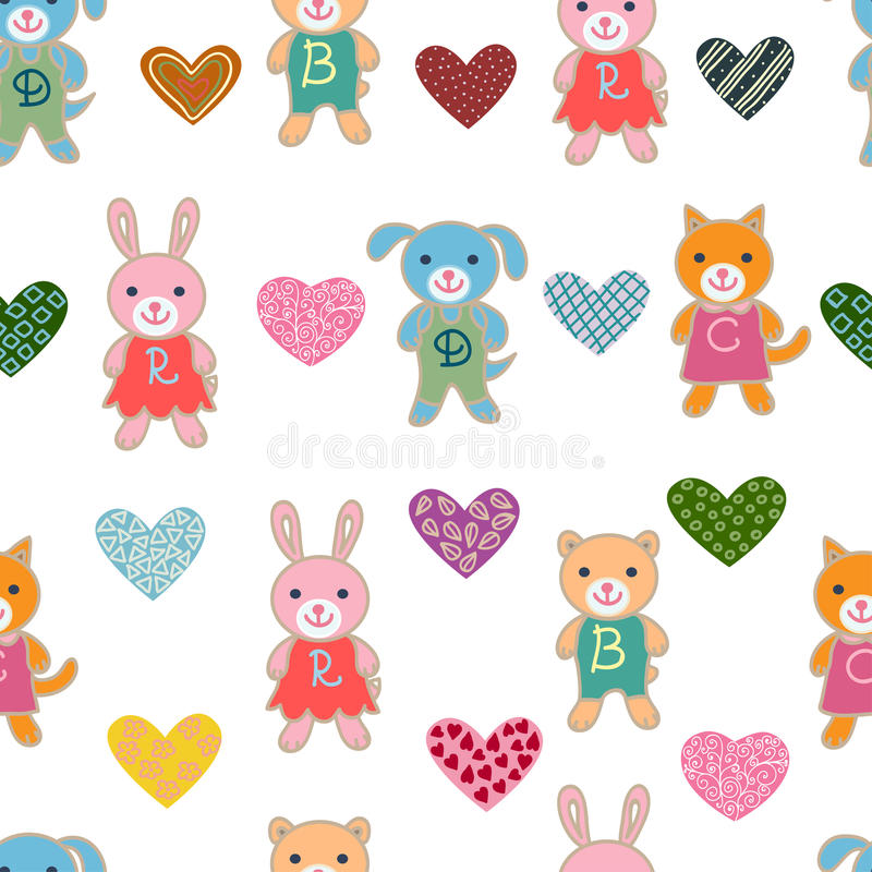 Naadloos patroon met leuke babydieren stock illustratie