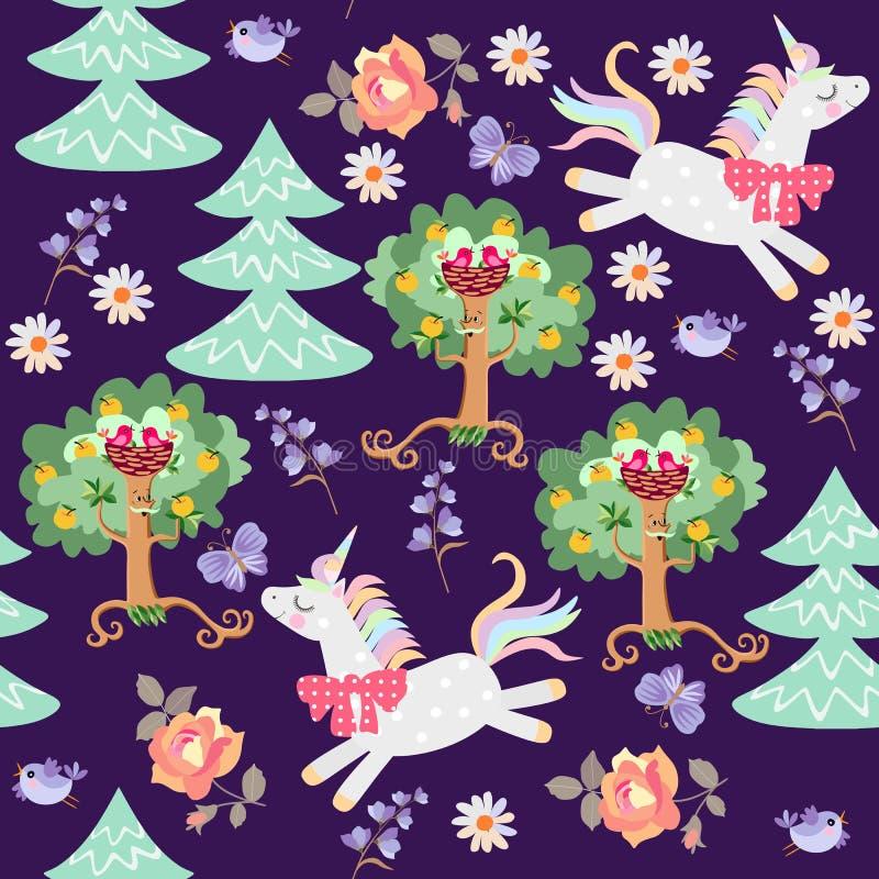 Naadloos patroon met leuke beeldverhaaleenhoorns, die in magische bosdruk voor stof, behang jamping stock illustratie