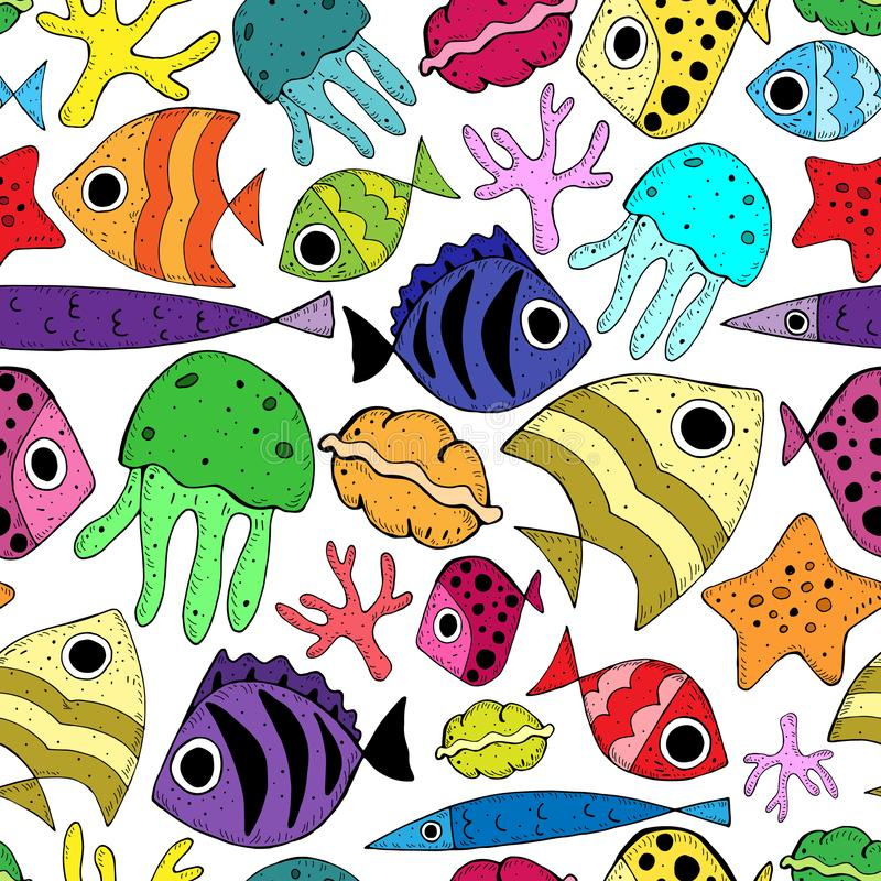 Naadloos patroon met leuke beeldverhaalvissen stock illustratie