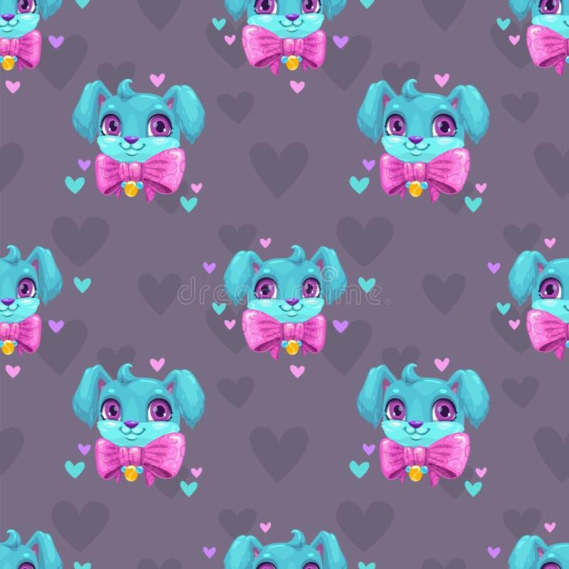 Naadloos patroon met leuke blauwe jonge hondgezichten stock illustratie