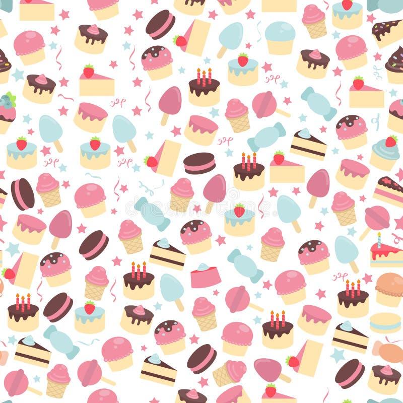Naadloos patroon met leuke cakes vector illustratie