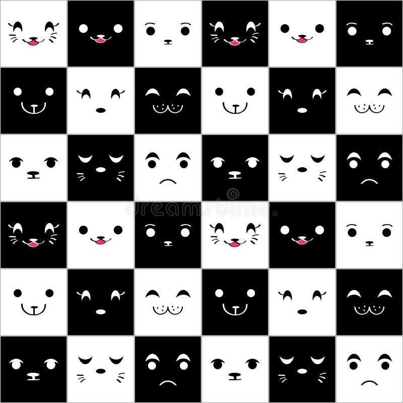 Naadloos patroon met leuke cartoonfaces stock illustratie
