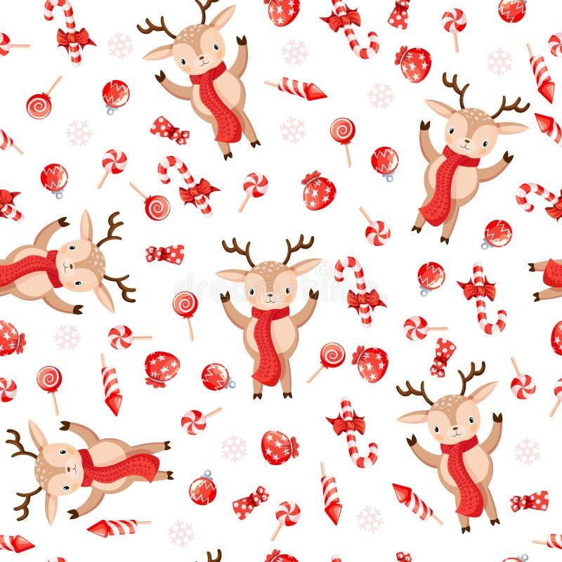 Naadloos patroon met leuke deers Hand-drawn vectorillustratieachtergrond stock illustratie