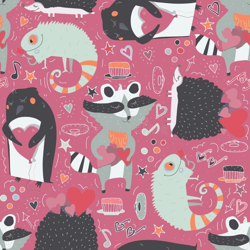 Naadloos patroon met leuke die dieren zoals wasbeer, leguaan en egel en pinguïn met harten, met krabbelster worden verfraaid stock illustratie