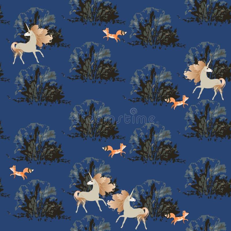 Naadloos patroon met leuke eenhoorns en vossen in de bosdruk van de nachtwinter voor stof vector illustratie