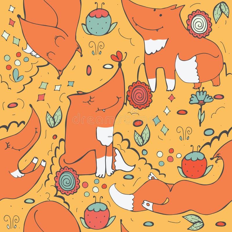 Naadloos patroon met leuke gembervossen en bloemen op gele achtergrond Hand getrokken die illustratie met krabbelflo wordt verfra stock illustratie