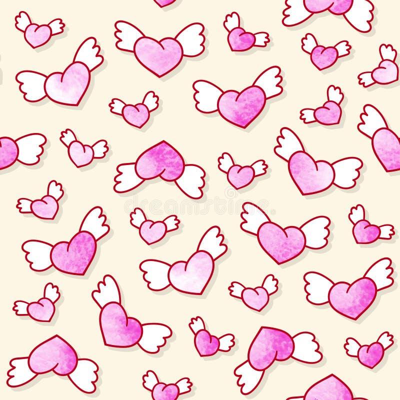 Naadloos patroon met leuke gevleugelde harten De dagachtergrond van Valentine ` s Vector Malplaatje vector illustratie