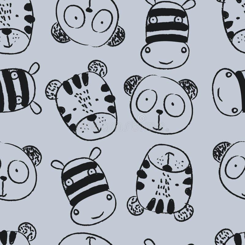 Naadloos patroon met leuke gezichtszebra en panda royalty-vrije illustratie