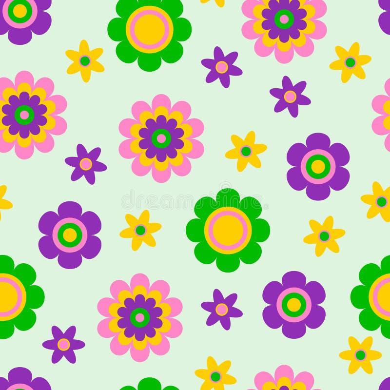 Naadloos patroon met leuke grappige beeldverhaalbloemen en kruiden De goede keus voor de toebehoren, de stof en andere van kinder stock illustratie