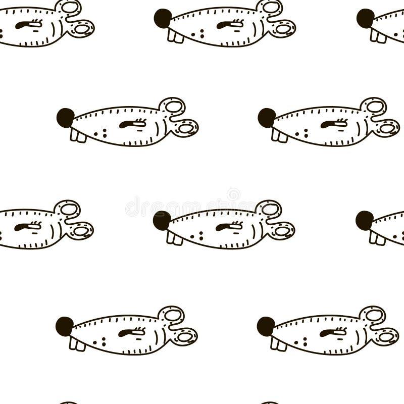 Naadloos patroon met leuke grappige muizen Vectorillustratie in schetsstijl royalty-vrije illustratie