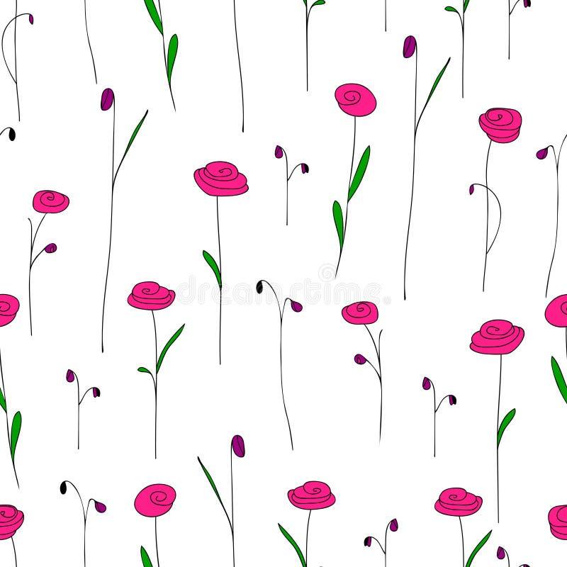 Naadloos patroon met leuke heldere roze bloemen Witte achtergrond vector illustratie