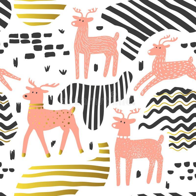 naadloos patroon met leuke herten De kinderachtige Achtergrond van het Wilddieren voor Stoffentextiel, Behang, Verpakkend Documen stock illustratie