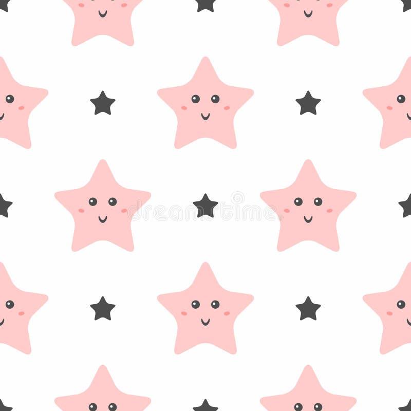 Naadloos patroon met leuke het glimlachen sterren Pyjamadruk voor meisjes royalty-vrije illustratie