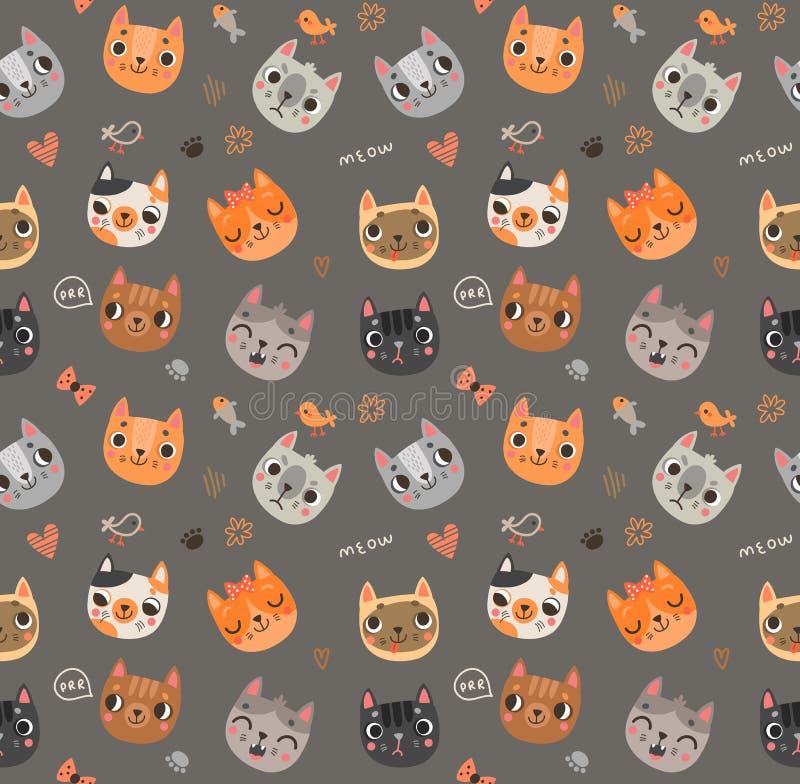 Naadloos patroon met leuke katten royalty-vrije illustratie