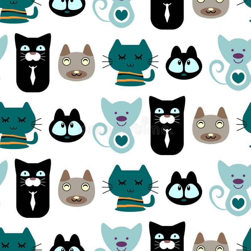 Naadloos patroon met leuke katten vector illustratie